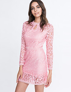 Women's Vogue Lace Hook Flower Slim Dress , Lace / Party Round Neck Long Sleeve