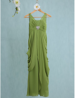 Lanting Bride® Floor-length Chiffon Junior Bridesmaid Dress Sheath / Column V-neck with Crystal Brooch