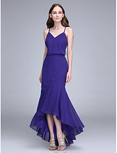 Mermaid / Trumpet Spaghetti Straps Asymmetrical Chiffon Bridesmaid Dress with Pleats by LAN TING BRIDE®
