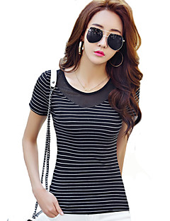 Women's Going out Sexy / Street chic Summer T-shirt,Striped Round Neck Short Sleeve White / Black Polyester Thin