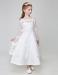 Ball Gown Ankle-length Flower Girl Dress - Tulle / Polyester Long Sleeve Spaghetti Straps with Appliques