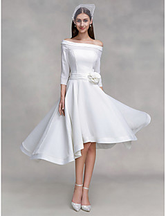 2017 Lanting Bride® A-line Wedding Dress Asymmetrical Off-the-shoulder Chiffon / Satin with Button / Flower