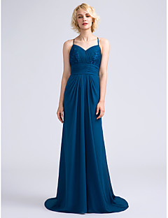 Lanting Bride® Sweep / Brush Train Chiffon / Lace Bridesmaid Dress Sheath / Column Spaghetti Straps with Draping / Lace / Ruching
