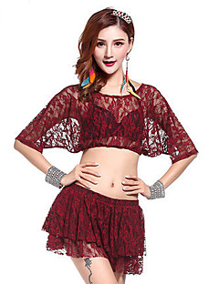 Belly Dance Outfits Women's Performance Spandex Draped 2 Pieces Belly Dance Half Sleeve Natural Top / Skirt