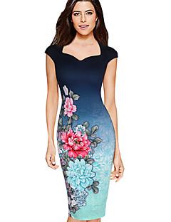 Women's Sexy Vintage Floral Print Bodycon Pencil Dress