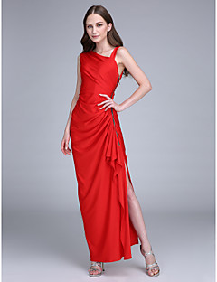 Lanting Bride® Ankle-length Jersey Bridesmaid Dress Sheath / Column Straps with Side Draping