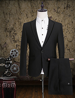 2017 Suits Slim Fit Notch Single Breasted One-button Cotton Solid 2 Pieces Black Straight Flapped