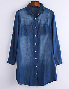 Women's Solid New Arrival Europe Style Blue Denim Dress , Casual / Work