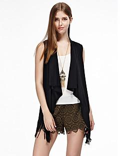 heartsoul női kiment egyszerű nyári kabátok, szilárd kerek nyakú ujjatlan fekete / barna pamut / poliészter / spandex vékony