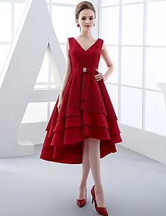 칵테일 파티 드레스 볼 드레스 V-넥 비대칭 레이스 / 새틴 와 리본 / 레이스 / 허리끈/리본