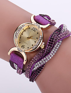 Damen Modeuhr Armbanduhr Armband-Uhr Simultan? Diamant Uhr Quartz / Imitation Diamant Leder Band Blume BöhmischeSchwarz Weiß Blau Rot