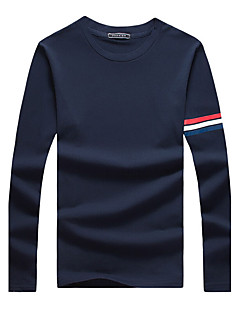 Men's Fashion Sleeve Striped Print Round Collar Casual Slim Fit Long-Sleeve T-Shirt, Cotton/Plus Size/Casual
