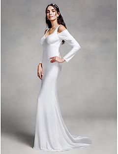 Lanting 신부 트럼펫 / 머메이드 웨딩 드레스 코트 트레인 스트랩 니트 와