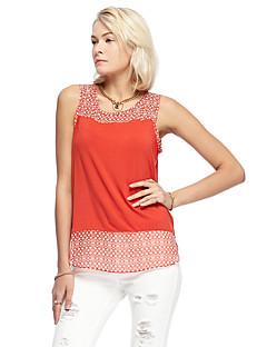 heartsoul kvinders gå ud simpel sommer t-shirt, solid rund hals ærmeløs appelsin rayon / spandex tynd