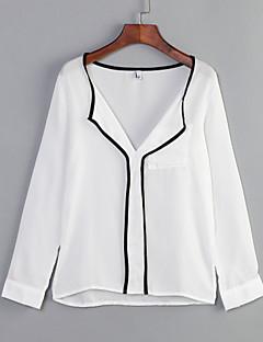 여성 솔리드 V 넥 긴 소매 셔츠,심플 캐쥬얼/데일리 화이트 면 봄 중간