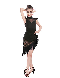 Children's Performance Lace Lace 1 Piece Latin Dance Sleeveless Natural Skirt Latin Dance Tutus & Skirts