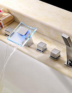 現代風 / アールデコ調/レトロ風 / 近代の バスタブとシャワー LED / 滝状吐水タイプ / ワイドspary / ハンドシャワーは含まれている with  セラミックバルブ 3つのハンドル5つの穴 for  クロム , シャワー水栓 / 浴槽用水栓 /
