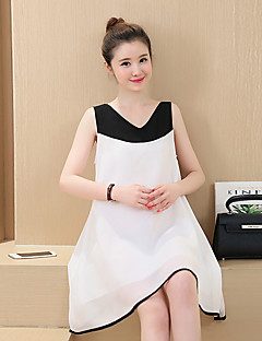Maternity Casual/Daily Simple Loose Dress,Color Block V Neck Above Knee Sleeveless White / Gray Spandex Summer