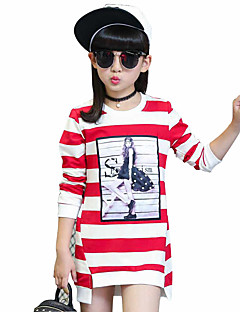 Girl's Casual/Daily Striped Tee,Cotton Spring / Fall Black / Purple / Red