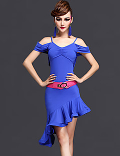 Latin Dance Dresses Women's Performance Rayon / Chinlon Ruched 2 Pieces Dark Purple / Fuchsia / Royal Blue Short Sleeve