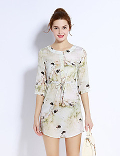 Damen Hülle Kleid-Ausgehen Niedlich Druck Rundhalsausschnitt Übers Knie ¾-Arm Weiß Seide Frühling Mittlere Hüfthöhe Mikro-elastisch