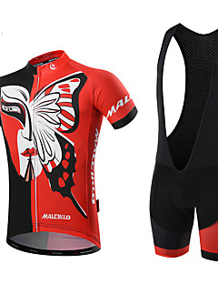 MALCIKLO® Cycling Jersey with Bib Shorts Men's Short Sleeve BikeBreathable / Quick Dry / Front Zipper / Wearable / High Breathability