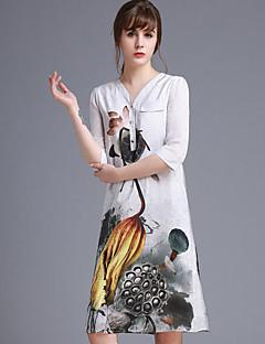 Damen Hülle Kleid-Ausgehen Niedlich Blumen V-Ausschnitt Übers Knie ¾-Arm Weiß Seide Frühling Mittlere Hüfthöhe Mikro-elastisch