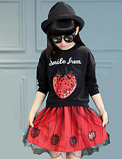 Girl's Round Collar Strawberry Print Clothing Set (Hoodie&Skirt)