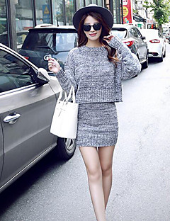 Women's Casual/Daily Simple Two Piece / Sweater Dress,Solid Round Neck Above Knee Long Sleeve Red