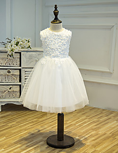 A-line Knee-length Flower Girl Dress - Tulle Sleeveless Jewel with Appliques / Beading