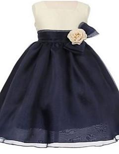 De Baile Até os Joelhos Vestido para Meninas das Flores - Organza Sem Mangas Quadrado com Laço(s) / Flor(es) / Faixa / Fita