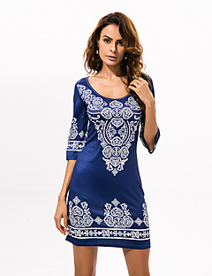 Women's Boho Round Collar National Boho Print Slim Mid-Sleeve Sheath Dress