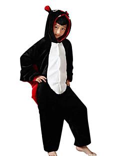 Kigurumi Pajamas Bat Leotard/Onesie Halloween Animal Sleepwear Black Patchwork Flannel Kigurumi Kid Halloween