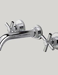 Moderne Vægmonteret bred spary with  Messing Ventil To Håndtag tre huller for  Krom , Håndvasken vandhane