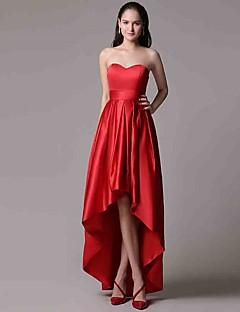 Serata formale Vestito Linea-A A cuore Asimmetrico Raso con A pieghe