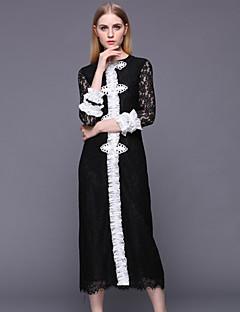 stephanie Frauengehen Weinlese / Chinoiserie Mantel dresssolid Rundhals knielangen schwarzen langen Hülse