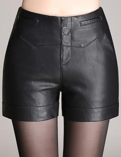 Kvinner Sexy / Enkel / Søt Shorts Bukser PU Mikroelastisk