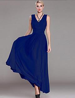 קיץ כותנה פוליאסטר כחול אפור ללא שרוולים מקסי צווארון V אחיד מתוחכם מידות גדולות שמלה נדן נשים,גיזרה בינונית (אמצע) מיקרו-אלסטיבינוני