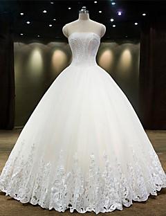 공주 웨딩 드레스 레이스 룩 바닥 길이 끈없는 스타일 튤 와 비즈 레이스