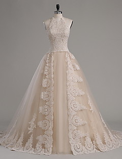 A-line Wedding Dress Wedding Dress in Color Chapel Train Halter Tulle with Appliques Beading Crystal Ruffle