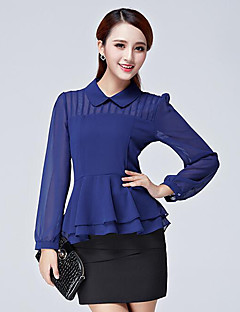 Women's Casual/Daily Street chic Spring / Fall Blouse,Solid Peter Pan Collar Long Sleeve  Polyester Medium