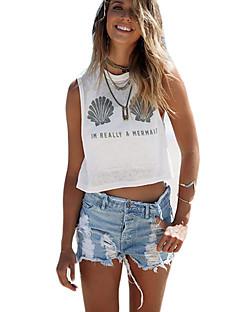 Damen Druck Sexy Lässig/Alltäglich T-shirt,Rundhalsausschnitt Sommer Ärmellos Weiß Baumwolle Undurchsichtig