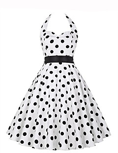 Women's Going out Vintage A Line Dress,Polka Dot Halter Knee-length Sleeveless White / Black Polyester Summer