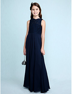Lanting Bride® Floor-length Chiffon / Lace Junior Bridesmaid Dress Sheath / Column Scoop with Lace