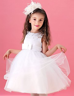 A-line Knee-length Flower Girl Dress - Tulle Sleeveless Jewel with Beading / Bow(s)