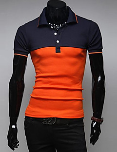 男性用 半袖 ポロシャツ,コットン カジュアル / スポーツ パッチワーク