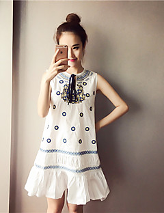 Maternity Casual/Daily Vintage / Simple Loose Dress,Floral Round Neck Knee-length Sleeveless Blue / White Spandex Summer