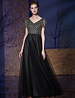 공식적인 이브닝 드레스 - 스파클& 자수 스팽글로 장식 한 V 넥 바닥 길이의 얇은 튜닉