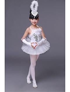 בלט שמלות בגדי ריקוד ילדים ביצועים פוליאסטר תחרה חלק 1 בלי שרוולים טבעי שמלה