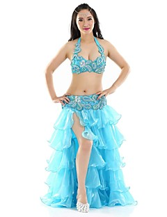 Belly Dance Outfits Women's Performance Polyester Split Front 3 Pieces Belly Dance Sleeveless Dropped
